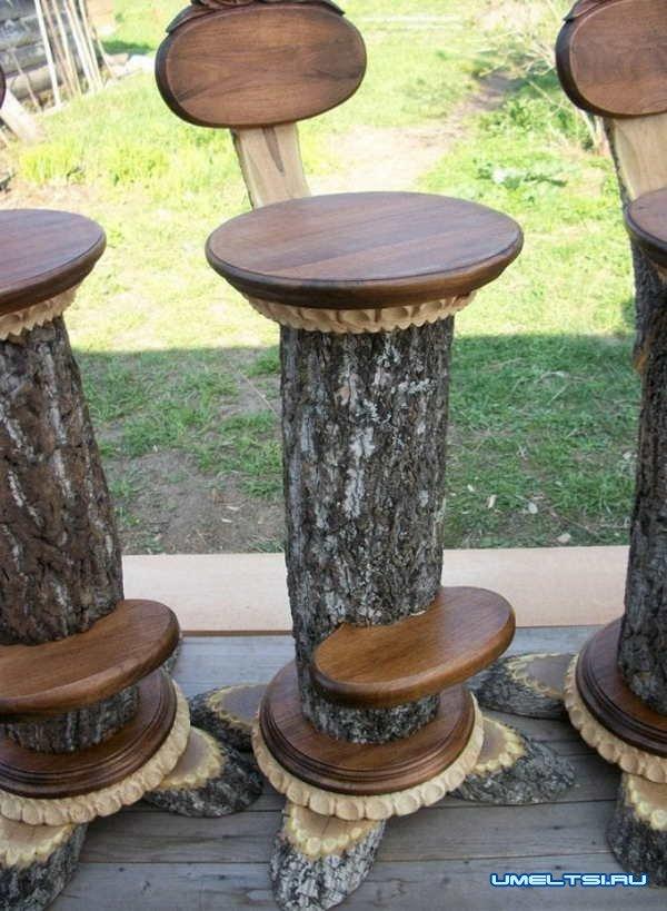 стулья и табуреты из пней