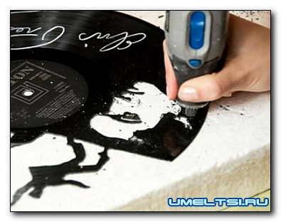 Выпиливание рисунка на виниловой пластинке