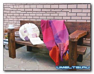 Садовая скамья из подручных материалов
