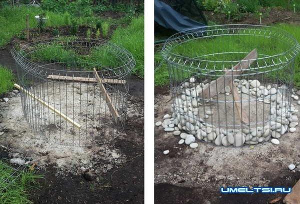 Строительство очага-мангала из габиона