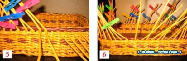 Изготовление корзинки для хлеба из бумажной лозы