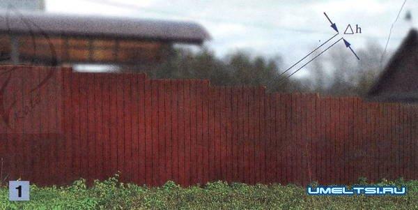 Как построить забор на склоне