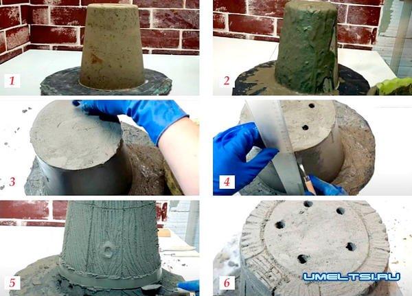 Изготовление кашпо-ведерко их цемента