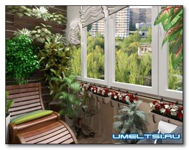 Украшение интерьера балкона светом